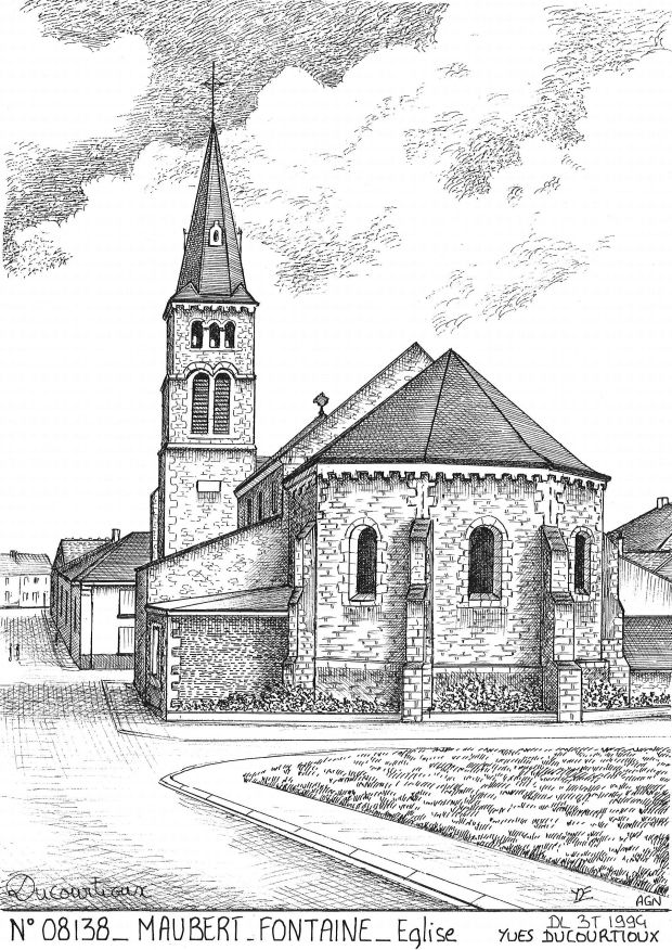 Carte Postale N° 08138 - MAUBERT FONTAINE - église