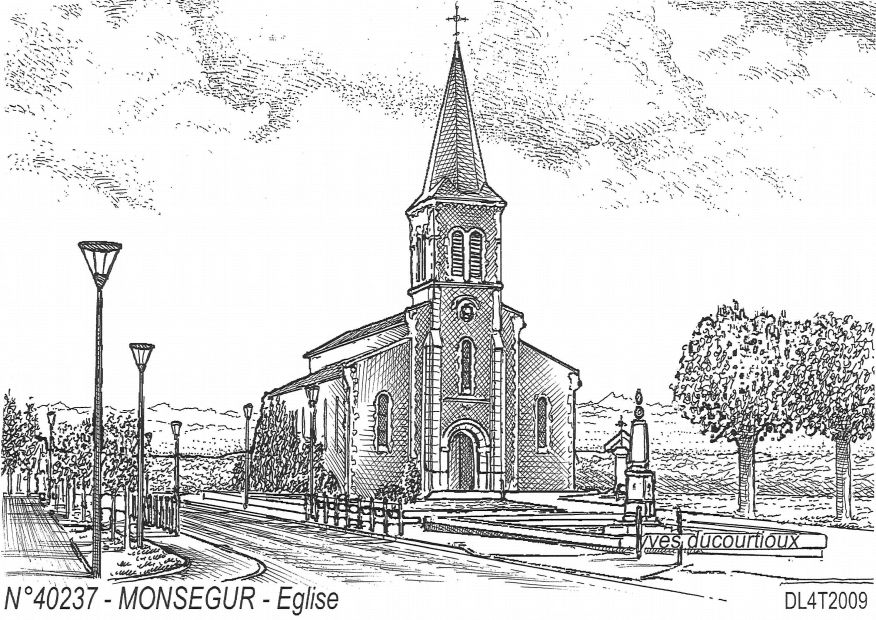 Cartes postales MONSEGUR - église