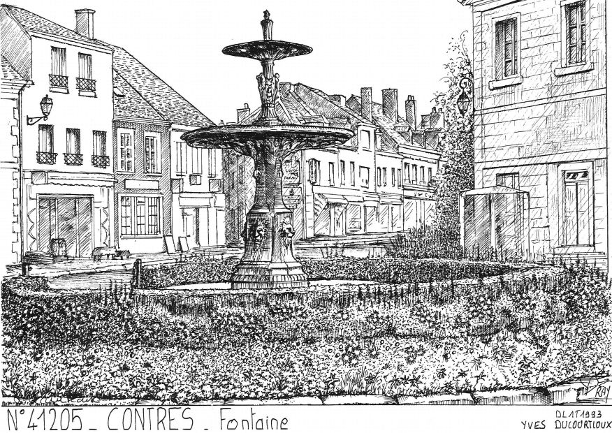 Carte Postale N° 41205 - CONTRES - fontaine