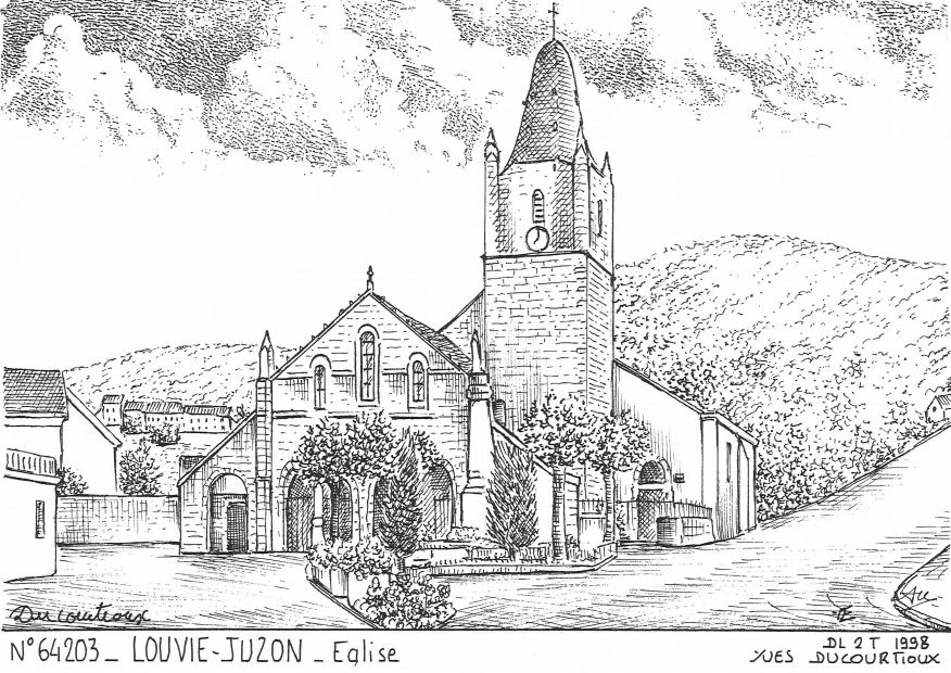 Cartes postales LOUVIE JUZON - église