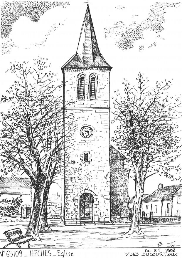 Carte Postale N° 65109 - HECHES - église