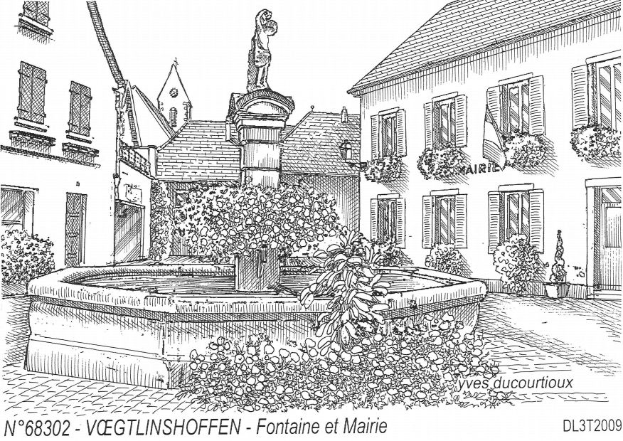 Carte Postale N° 68302 - VOEGTLINSHOFFEN - fontaine et mairie