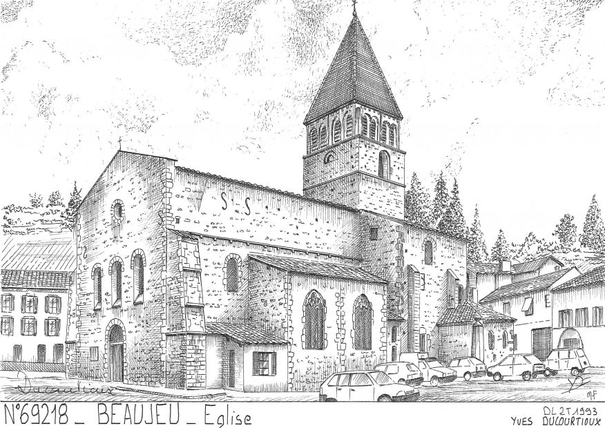 Cartes postales BEAUJEU - église