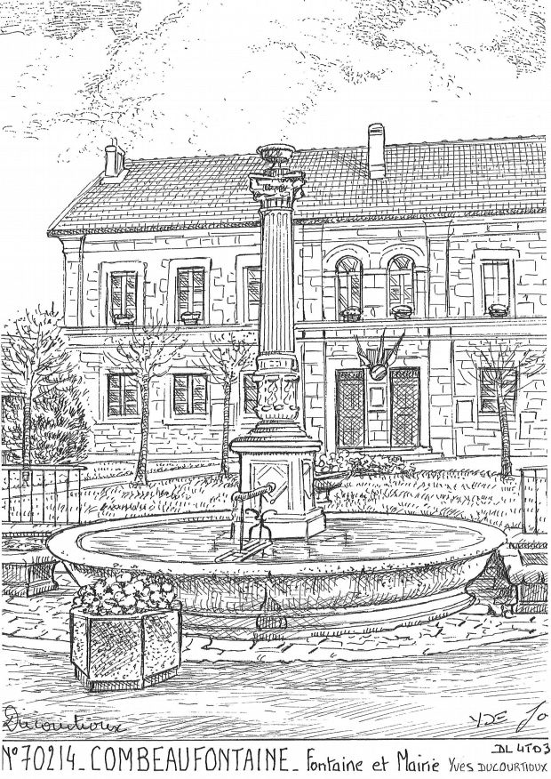 Cartes postales COMBEAUFONTAINE - fontaine et mairie