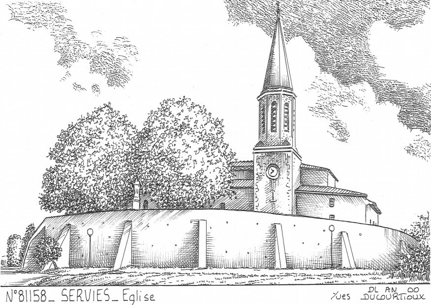 Cartes postales SERVIES - église