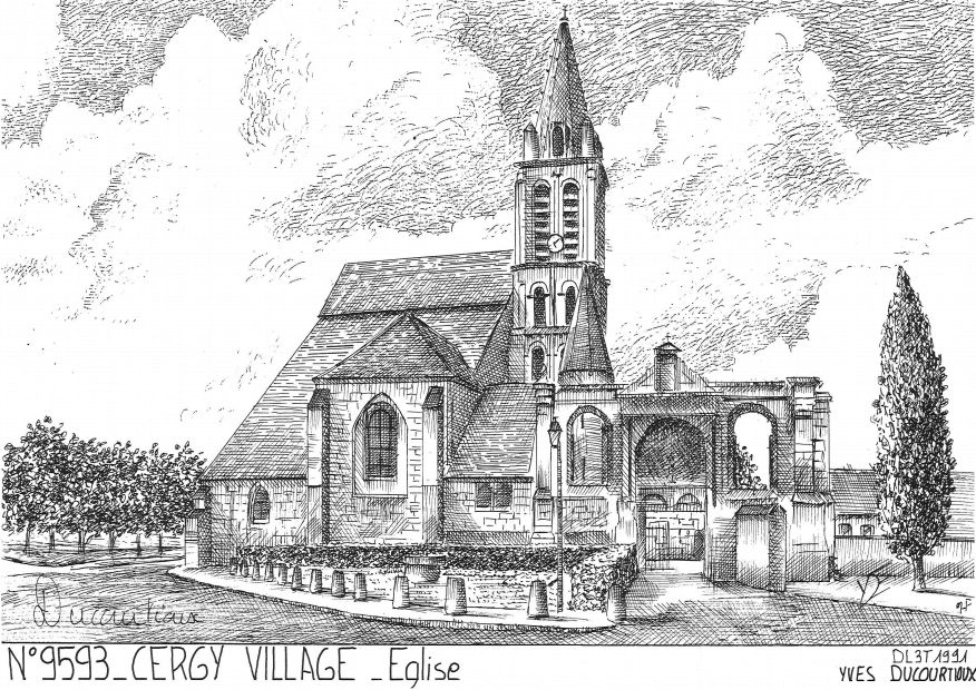 Carte Postale N° 95093 - CERGY PONTOISE - église à cergy village